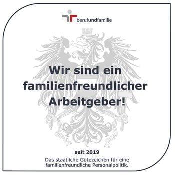 Staatliches Gütezeichen Beruf und Familie, zertifiziert familienfreundlicher Arbeitgeber